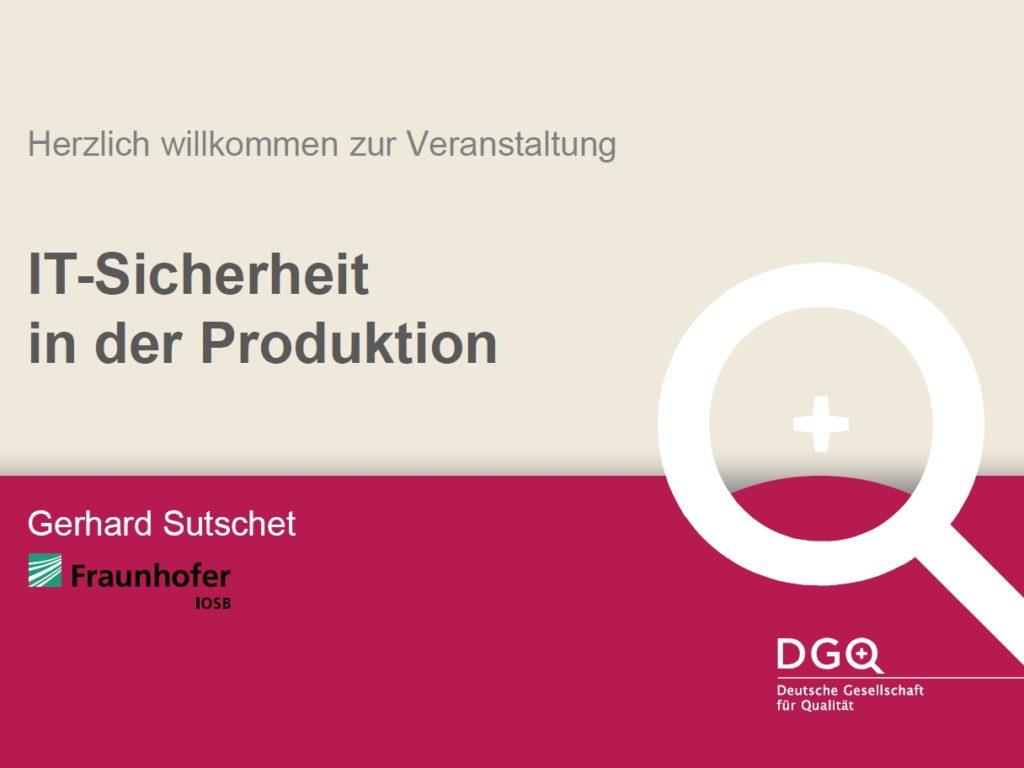 Vortrag Cyber-Sicherheit vom Fraunhofer IOSB auf der Control 2018
